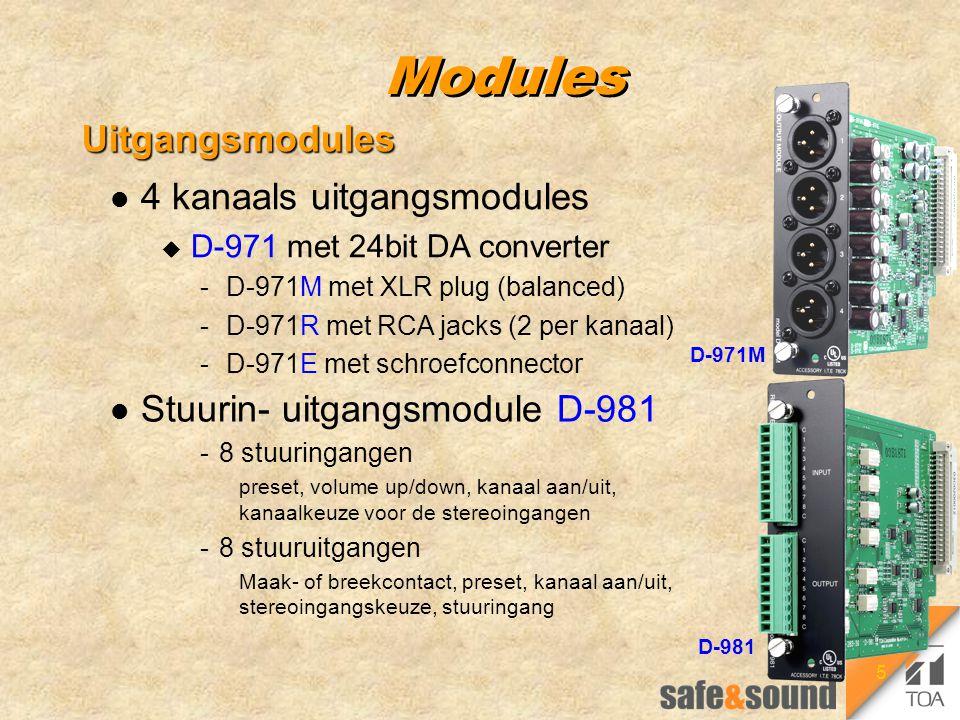 5 Modules Uitgangsmodules l Stuurin- uitgangsmodule D-981 -8 stuuringangen preset, volume up/down, kanaal aan/uit, kanaalkeuze voor de stereoingangen