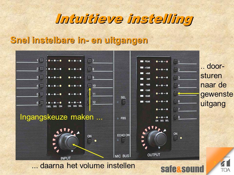 7 Intuitieve instelling Snel instelbare in- en uitgangen Ingangskeuze maken...... daarna het volume instellen.. door- sturen naar de gewenste uitgang