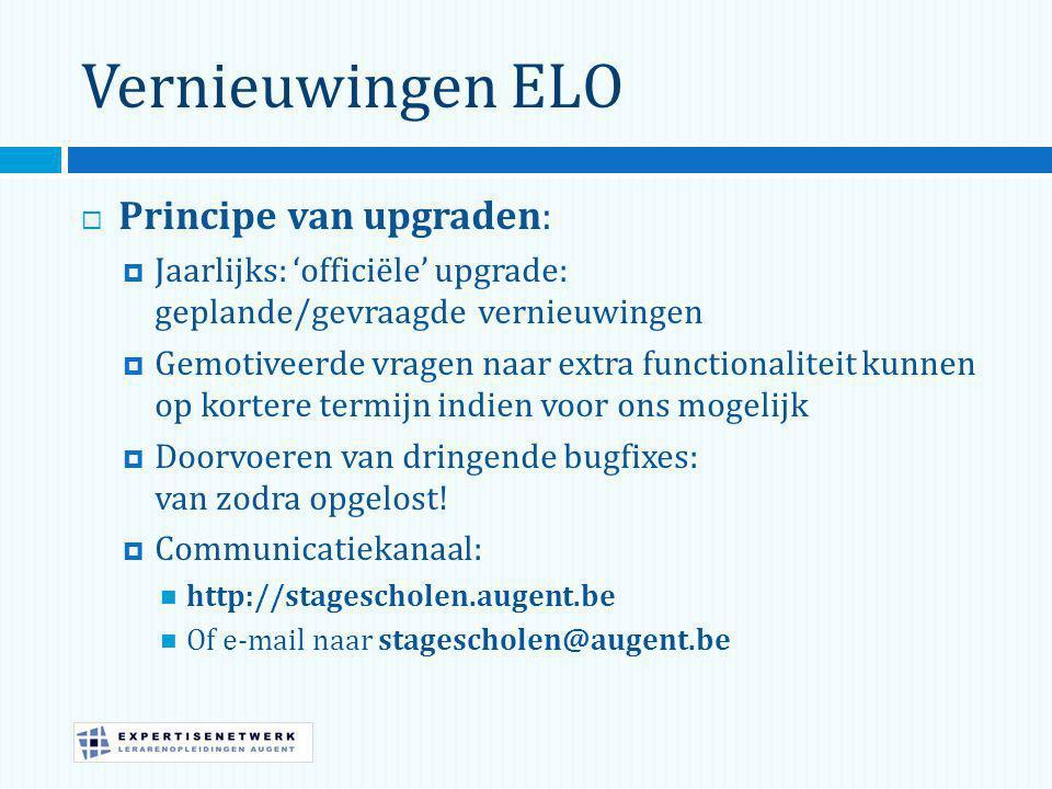 Vernieuwingen ELO  Principe van upgraden:  Jaarlijks: 'officiële' upgrade: geplande/gevraagde vernieuwingen  Gemotiveerde vragen naar extra functionaliteit kunnen op kortere termijn indien voor ons mogelijk  Doorvoeren van dringende bugfixes: van zodra opgelost.