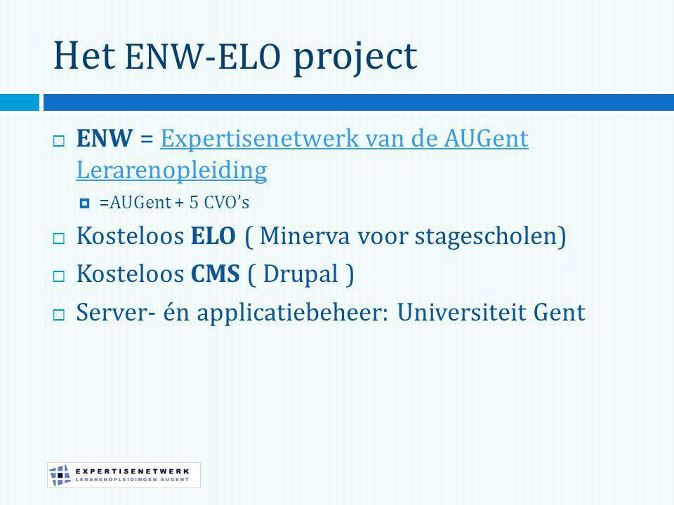 Het ENW-ELO project  ENW = Expertisenetwerk van de AUGent LerarenopleidingExpertisenetwerk van de AUGent Lerarenopleiding  =AUGent + 5 CVO's  Kosteloos ELO ( Minerva voor stagescholen)  Kosteloos CMS ( Drupal )  Server- én applicatiebeheer: Universiteit Gent