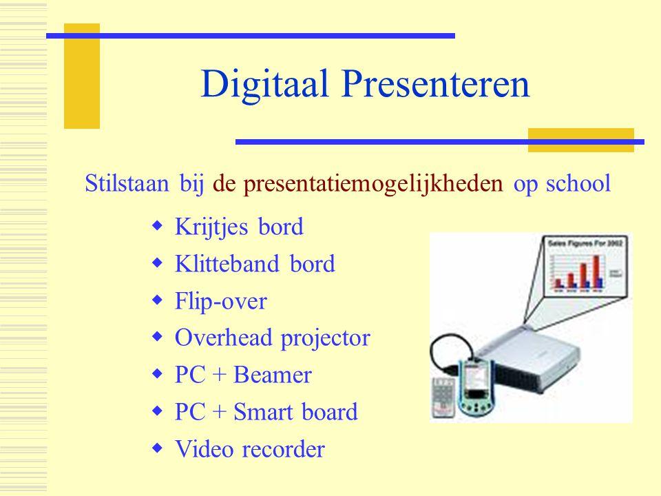 Digitaal Presenteren Stilstaan bij de presentatiemogelijkheden op school  Krijtjes bord  Klitteband bord  Flip-over  Overhead projector  PC + Bea