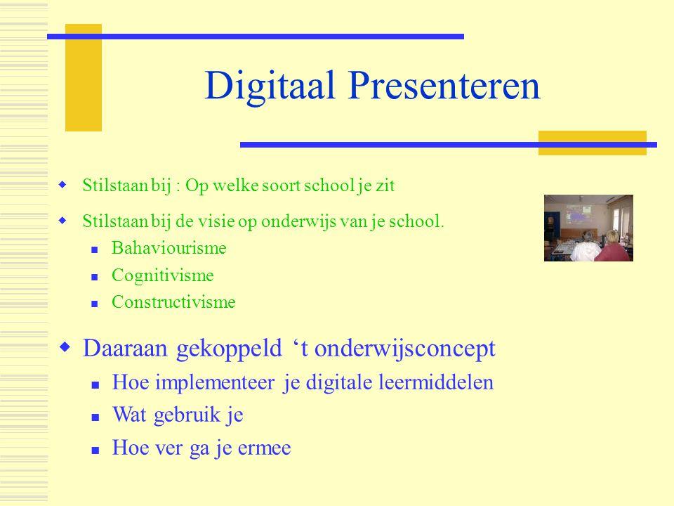 Digitaal Presenteren  Stilstaan bij de visie op onderwijs van je school.  Bahaviourisme  Cognitivisme  Constructivisme  Daaraan gekoppeld 't onde