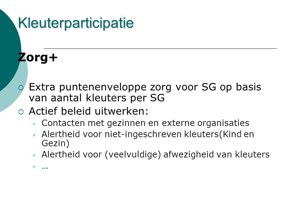 Zorg+  Extra puntenenveloppe zorg voor SG op basis van aantal kleuters per SG  Actief beleid uitwerken: • Contacten met gezinnen en externe organisa