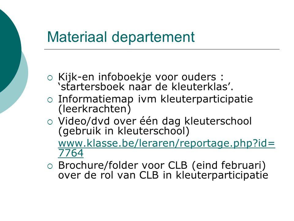 Materiaal departement  Kijk-en infoboekje voor ouders : 'startersboek naar de kleuterklas'.  Informatiemap ivm kleuterparticipatie (leerkrachten) 