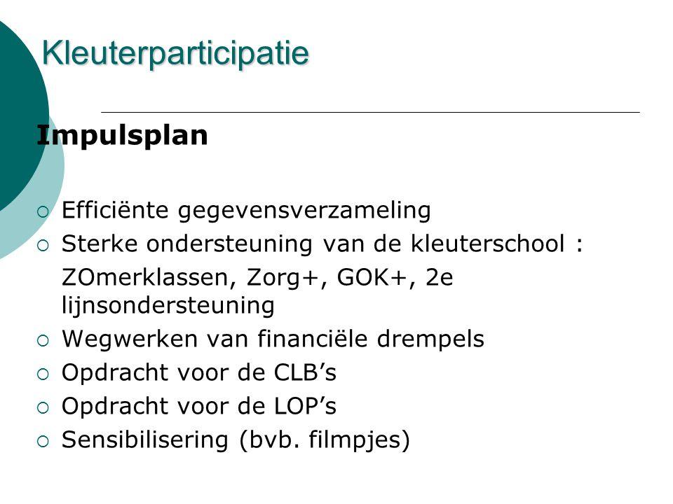 Impulsplan  Efficiënte gegevensverzameling  Sterke ondersteuning van de kleuterschool : ZOmerklassen, Zorg+, GOK+, 2e lijnsondersteuning  Wegwerken