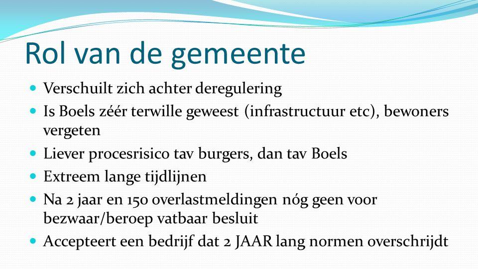 Rol van de gemeente  Verschuilt zich achter deregulering  Is Boels zéér terwille geweest (infrastructuur etc), bewoners vergeten  Liever procesrisi