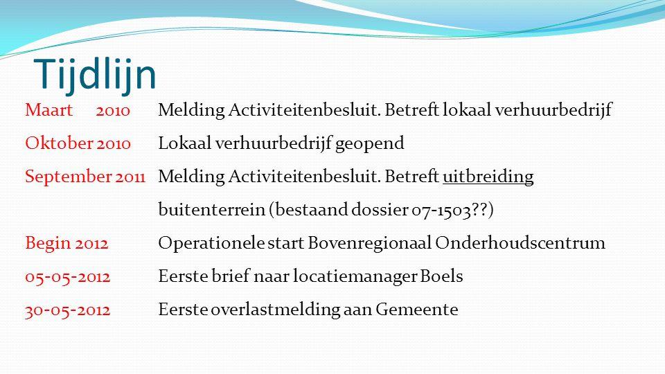 Tijdlijn Maart 2010Melding Activiteitenbesluit. Betreft lokaal verhuurbedrijf Oktober 2010Lokaal verhuurbedrijf geopend September 2011Melding Activite