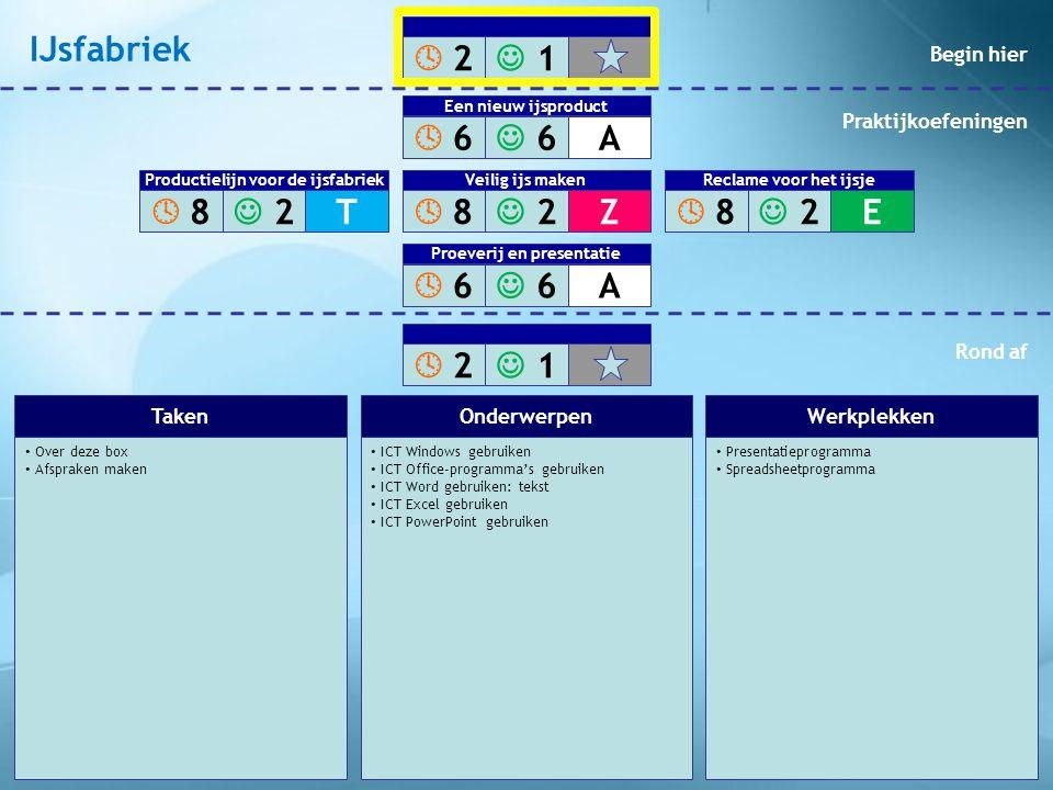 • Experimenteer met ijs • Ontwerp een nieuw ijsproduct • ALG Vergaderagenda opstellen • ICT Windows gebruiken • ICT Office-programma's gebruiken • ICT Word gebruiken: tekst • ICT Excel gebruiken • ALG Notulen maken • ALG Beeldbewerkingprogramma´s • ALG Moodboard maken • Tekstverwerkingsprogramma • Spreadsheetprogramma • Keuken • Vriezer • Internetbrowser • Beeldbewerkingprogramma TakenOnderwerpenWerkplekken  2 2  1 1  6 6  6 6A Een nieuw ijsproduct  8 8  2 2Z Veilig ijs maken  6 6  6 6A Proeverij en presentatie  2 2  1 1  8 8  2 2T Productielijn voor de ijsfabriek  8 8  2 2E Veilig ijs maken Reclame voor het ijsje Begin hier Praktijkoefeningen Rond af IJsfabriek