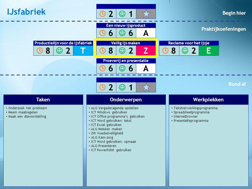 • Maak de verpakking • Maak een reclamefolder of een reclamespot • Maak een diavoorstelling • ALG Vergaderagenda opstellen • ICT Windows gebruiken • ICT Office-programma's gebruiken • ICT Word gebruiken: tekst • ICT Excel gebruiken • ALG Notulen maken • EC Verpakkingsinformatie voedingsmiddelen • ALG Beeldbewerkingprogramma's • ICT Word gebruiken: opmaak • ALG Folder maken • ALG Video maken • ALG Presenteren • ICT PowerPoint gebruiken • Tekstverwerkingsprogramma • Spreadsheetprogramma • Internetbrowser • Beeldbewerkingprogramma • Videobewerkingprogramma • Presentatieprogramma TakenOnderwerpenWerkplekken  2 2  1 1  6 6  6 6A Een nieuw ijsproduct  8 8  2 2Z Veilig ijs maken  6 6  6 6A Proeverij en presentatie  2 2  1 1  8 8  2 2T Productielijn voor de ijsfabriek  8 8  2 2E Veilig ijs maken Reclame voor het ijsje Begin hier Praktijkoefeningen Rond af IJsfabriek