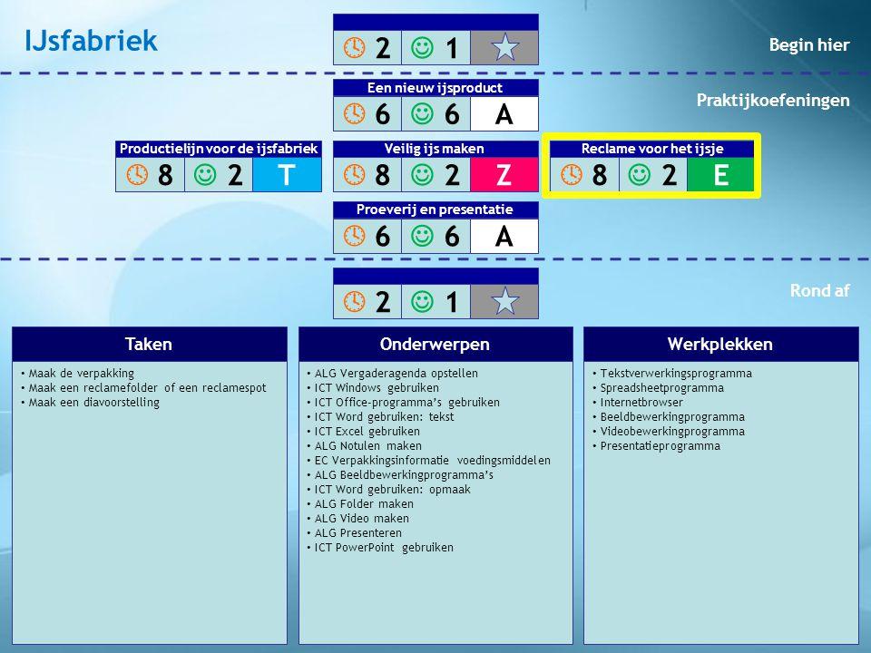 • Organiseer de proeverij • Verzorg de presentatie • ALG Vergaderagenda opstellen • ICT Windows gebruiken • ICT Office-programma's gebruiken • ICT Word gebruiken: tekst • ICT Excel gebruiken • ALG Notulen maken • ALG Presenteren • TN Robots • ICT PowerPoint gebruiken • Proefruimte • Presentatieprogramma • Robot • Beamer TakenOnderwerpenWerkplekken  2 2  1 1  6 6  6 6A Een nieuw ijsproduct  8 8  2 2Z Veilig ijs maken  6 6  6 6A Proeverij en presentatie  2 2  1 1  8 8  2 2T Productielijn voor de ijsfabriek  8 8  2 2E Veilig ijs maken Reclame voor het ijsje Begin hier Praktijkoefeningen Rond af IJsfabriek