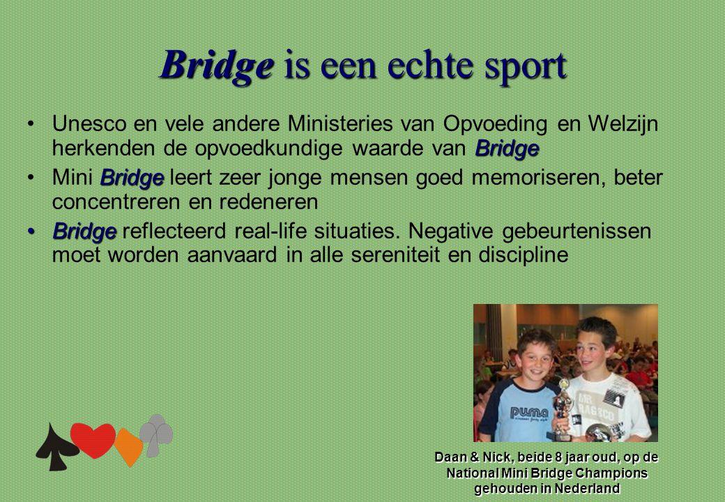 Bridgeis een echte sport Bridge is een echte sport Bridge •Unesco en vele andere Ministeries van Opvoeding en Welzijn herkenden de opvoedkundige waard