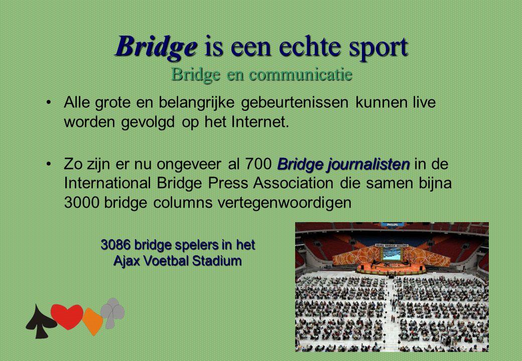 Bridge is een echte sport Bridge en communicatie 3086 bridge spelers in het Ajax Voetbal Stadium •Alle grote en belangrijke gebeurtenissen kunnen live