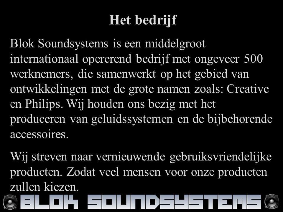 Het bedrijf Blok Soundsystems is een middelgroot internationaal opererend bedrijf met ongeveer 500 werknemers, die samenwerkt op het gebied van ontwikkelingen met de grote namen zoals: Creative en Philips.