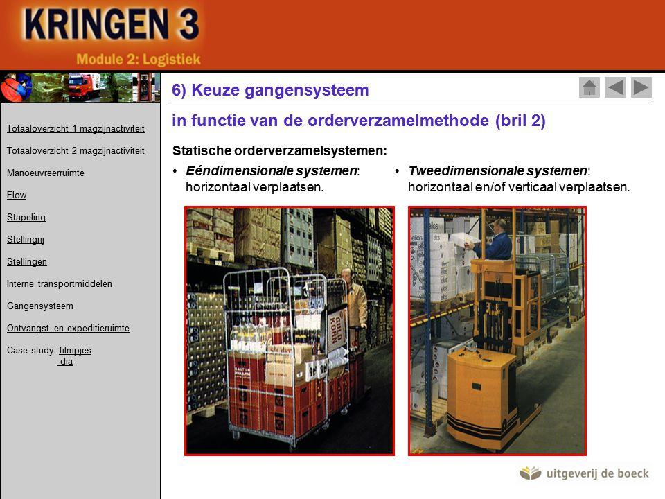 Statische orderverzamelsystemen: •Eéndimensionale systemen: horizontaal verplaatsen.
