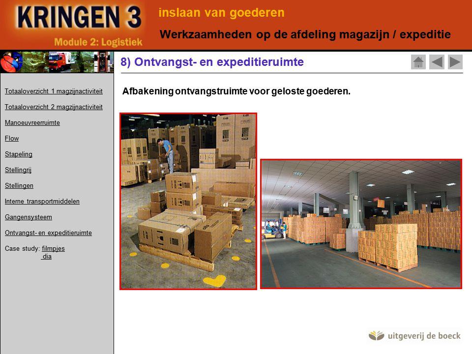 Afbakening ontvangstruimte voor geloste goederen. 8) Ontvangst- en expeditieruimte inslaan van goederen Werkzaamheden op de afdeling magazijn / expedi