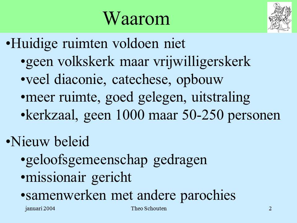 januari 2004Theo Schouten2 Waarom •Huidige ruimten voldoen niet •geen volkskerk maar vrijwilligerskerk •veel diaconie, catechese, opbouw •meer ruimte,
