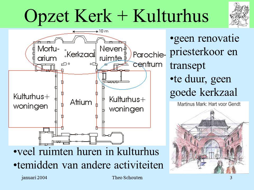januari 2004Theo Schouten3 Opzet Kerk + Kulturhus •veel ruimten huren in kulturhus •temidden van andere activiteiten •geen renovatie priesterkoor en transept •te duur, geen goede kerkzaal