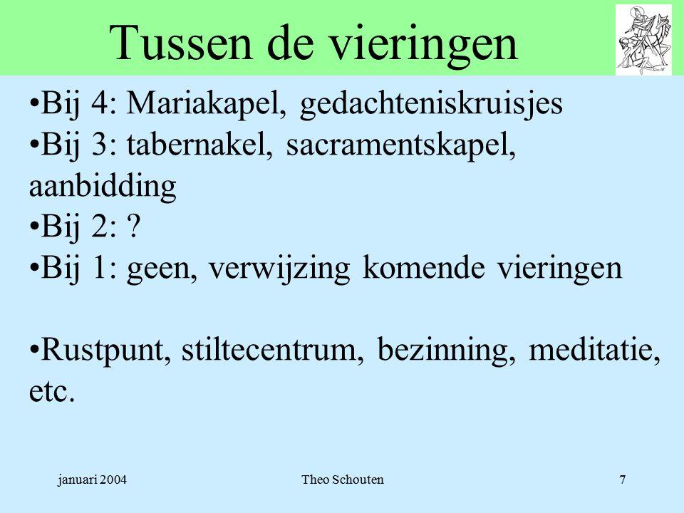 januari 2004Theo Schouten7 Tussen de vieringen •Bij 4: Mariakapel, gedachteniskruisjes •Bij 3: tabernakel, sacramentskapel, aanbidding •Bij 2: .