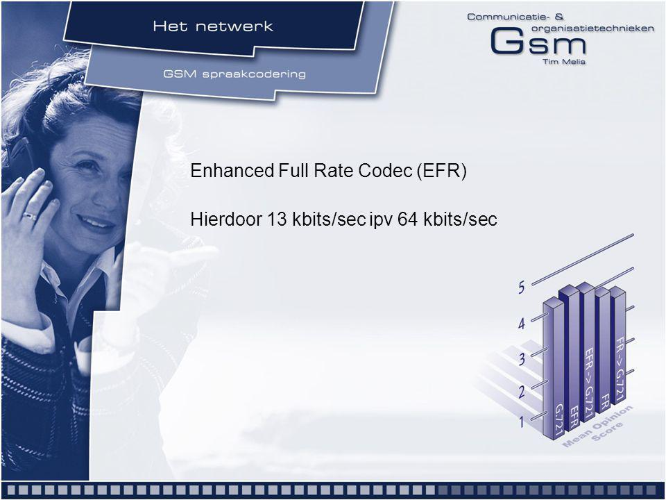 Enhanced Full Rate Codec (EFR) Hierdoor 13 kbits/sec ipv 64 kbits/sec
