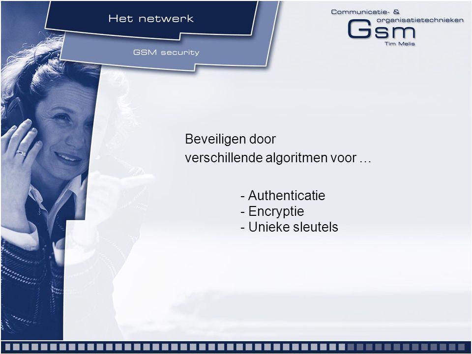 Beveiligen door verschillende algoritmen voor … - Authenticatie - Encryptie - Unieke sleutels