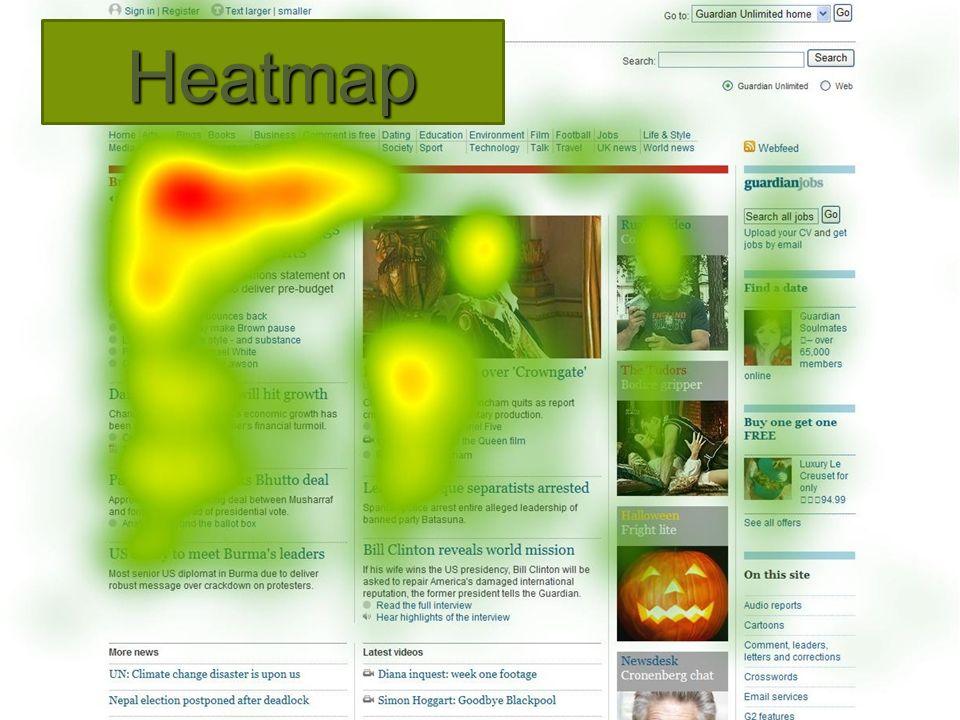 Heatmap  Grafische representatie waar individuele waarden als kleuren worden weergegeven  Web heat maps worden gebruikt om te tonen welke delen van een pagina 'gescand' worden met de ogen van de surfer  Worden samen gebruikt met 'web analytics' en 'session replay tools'
