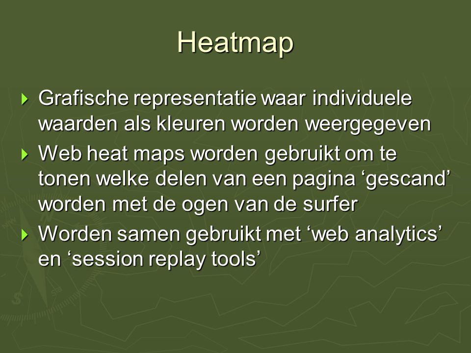 Heatmap  Grafische representatie waar individuele waarden als kleuren worden weergegeven  Web heat maps worden gebruikt om te tonen welke delen van
