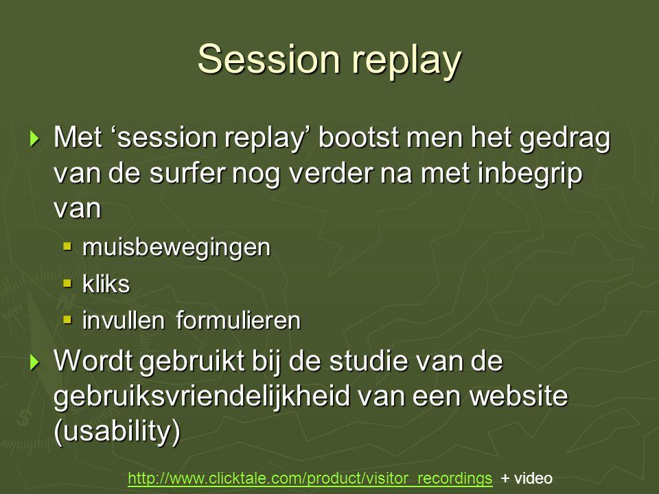 Session replay  Met 'session replay' bootst men het gedrag van de surfer nog verder na met inbegrip van  muisbewegingen  kliks  invullen formulier