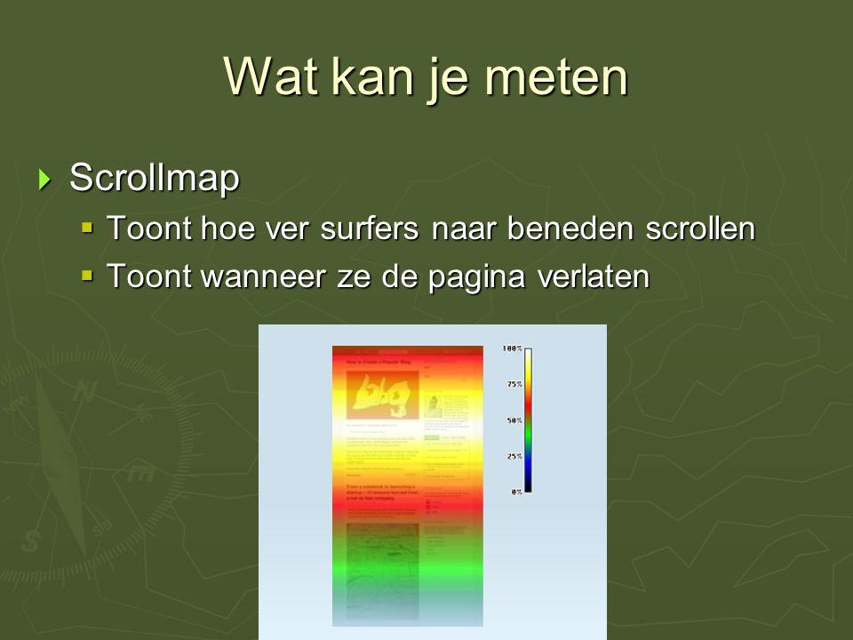 Wat kan je meten  Scrollmap  Toont hoe ver surfers naar beneden scrollen  Toont wanneer ze de pagina verlaten