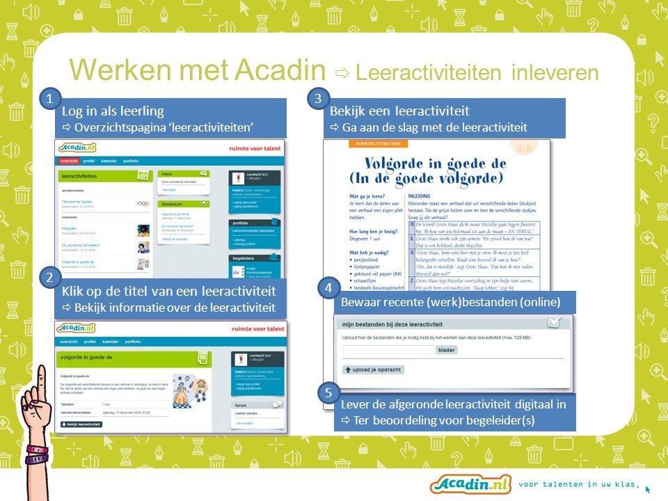 Lever de afgeronde leeractiviteit digitaal in  Ter beoordeling voor begeleider(s) Werken met Acadin  Leeractiviteiten inleveren Log in als leerling  Overzichtspagina 'leeractiviteiten' 1 Bekijk een leeractiviteit  Ga aan de slag met de leeractiviteit 3 Klik op de titel van een leeractiviteit  Bekijk informatie over de leeractiviteit 2 Bewaar recente (werk)bestanden (online) 4 5