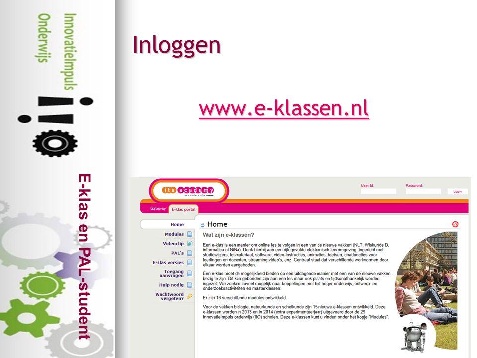 E-klas en PAL-student www.e-klassen.nl Inloggen