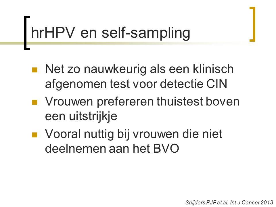 hrHPV en self-sampling  Net zo nauwkeurig als een klinisch afgenomen test voor detectie CIN  Vrouwen prefereren thuistest boven een uitstrijkje  Vooral nuttig bij vrouwen die niet deelnemen aan het BVO Snijders PJF et al.