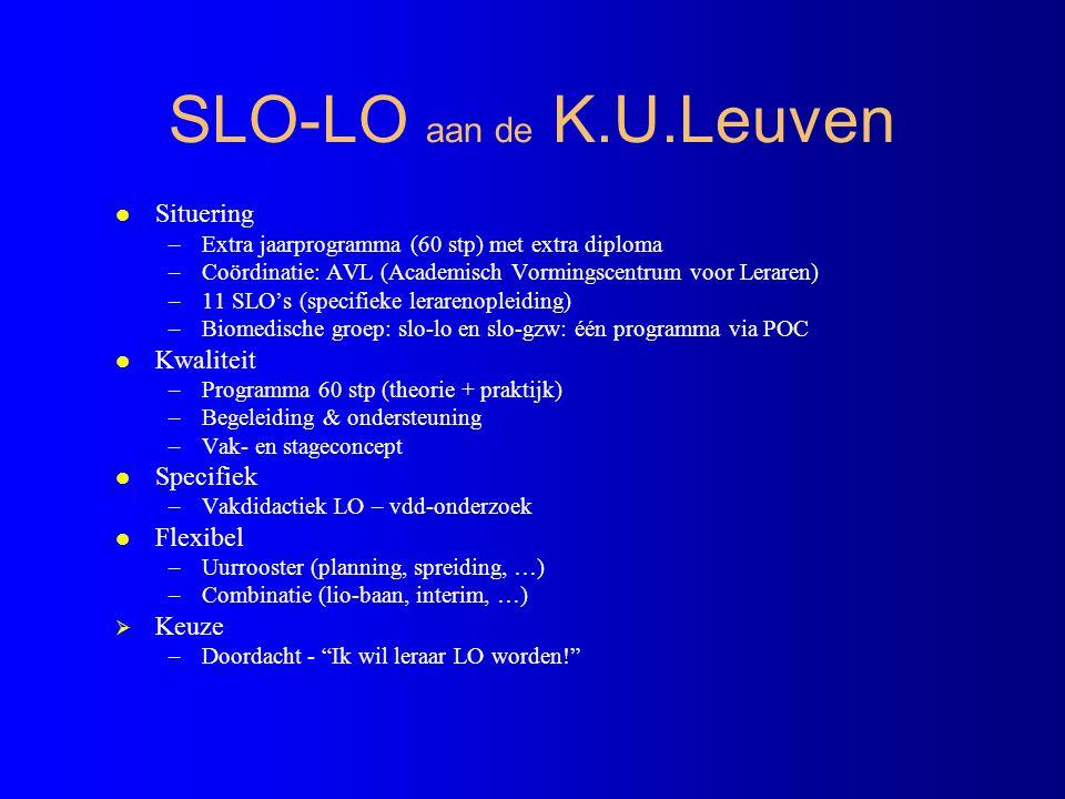 SLO - LO programma ( 60 STP) l 30 STP theorie - Leren en onderwijzen (5 STP ) - Onderwijs, opvoeding en samenleving (3 STP ) - Interpersoonlijke vaardigheden (3 STP ) - Reflectie en onderzoek (5 STP ) - Vakdidactiek LO (10 STP ) - Keuzevak (4 STP ) l 30 STP stage LO