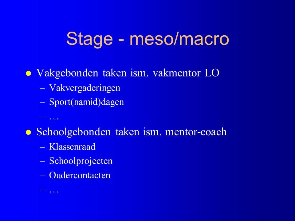 Stage - begeleiding & verwerking l E-portfolio –Elektronische stagemap op toledo l Planningsdocumenten, reflecties en verslagen … l Begeleiding –Continu door vakmentor –Gepland (2x2) stagebezoek door stagebegeleider –Via E-portfolio en gesprekken/seminaries/video- opname en confrontatie