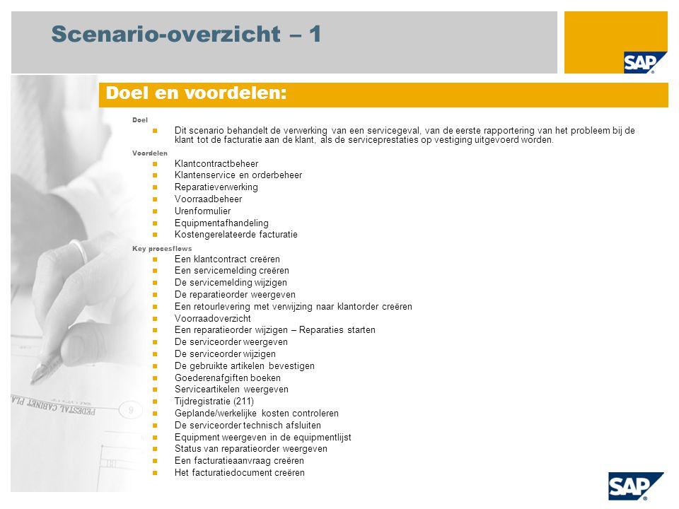 Scenario-overzicht – 1 Doel  Dit scenario behandelt de verwerking van een servicegeval, van de eerste rapportering van het probleem bij de klant tot de facturatie aan de klant, als de serviceprestaties op vestiging uitgevoerd worden.