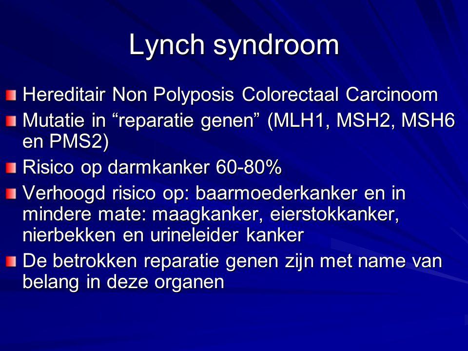 "Lynch syndroom Hereditair Non Polyposis Colorectaal Carcinoom Mutatie in ""reparatie genen"" (MLH1, MSH2, MSH6 en PMS2) Risico op darmkanker 60-80% Verh"