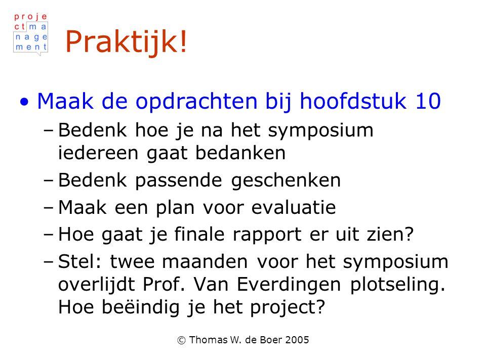 © Thomas W. de Boer 2005 Praktijk! •Maak de opdrachten bij hoofdstuk 10 –Bedenk hoe je na het symposium iedereen gaat bedanken –Bedenk passende gesche