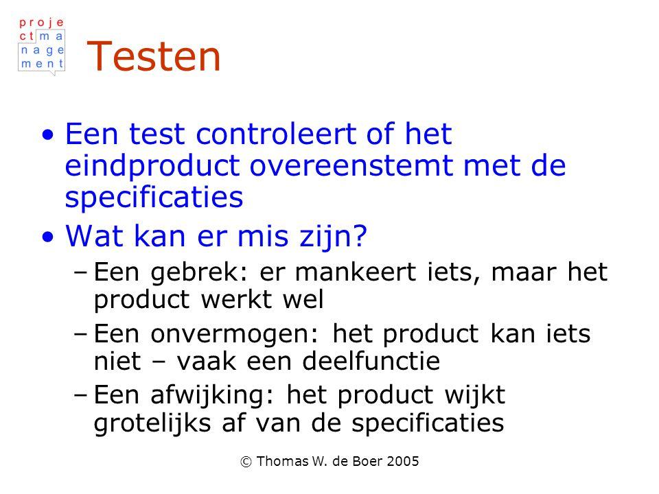 © Thomas W. de Boer 2005 Testen •Een test controleert of het eindproduct overeenstemt met de specificaties •Wat kan er mis zijn? –Een gebrek: er manke