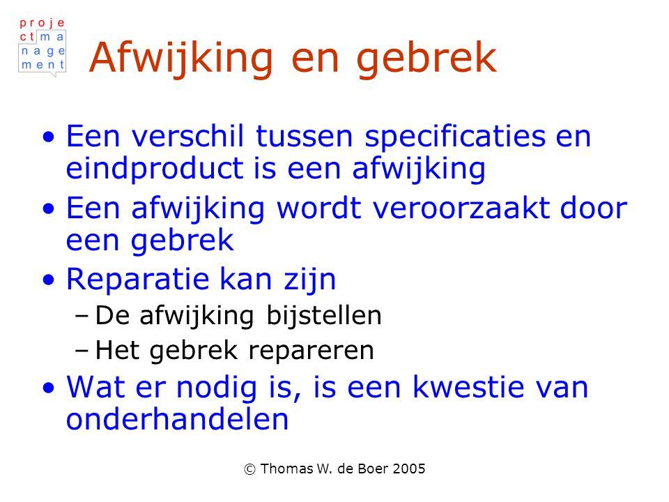 © Thomas W. de Boer 2005 Afwijking en gebrek •Een verschil tussen specificaties en eindproduct is een afwijking •Een afwijking wordt veroorzaakt door
