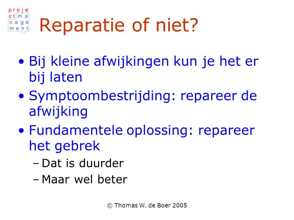 © Thomas W. de Boer 2005 Reparatie of niet? •Bij kleine afwijkingen kun je het er bij laten •Symptoombestrijding: repareer de afwijking •Fundamentele