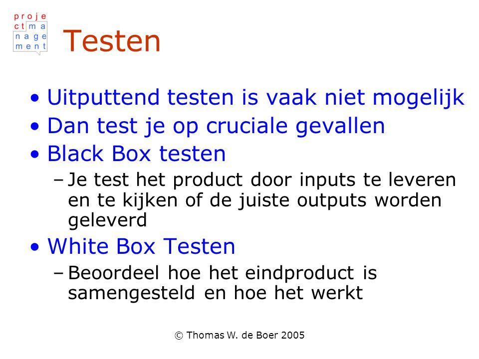 © Thomas W. de Boer 2005 Testen •Uitputtend testen is vaak niet mogelijk •Dan test je op cruciale gevallen •Black Box testen –Je test het product door