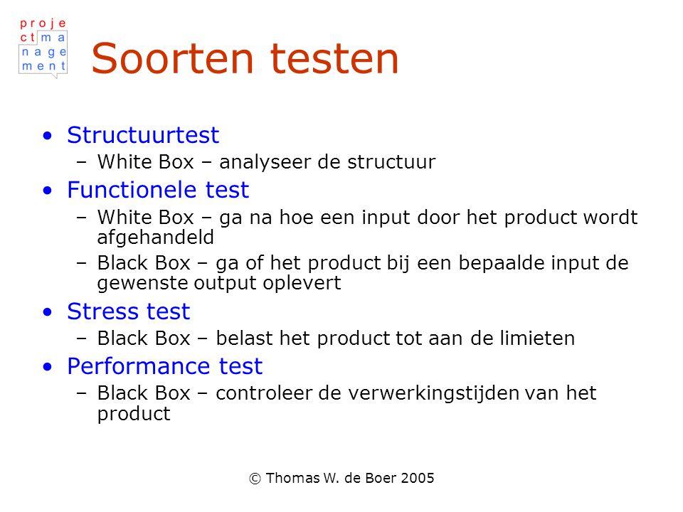 © Thomas W. de Boer 2005 Soorten testen •Structuurtest –White Box – analyseer de structuur •Functionele test –White Box – ga na hoe een input door het