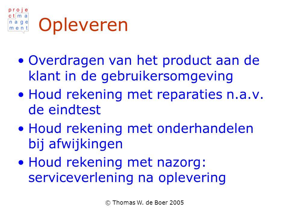 © Thomas W. de Boer 2005 Opleveren •Overdragen van het product aan de klant in de gebruikersomgeving •Houd rekening met reparaties n.a.v. de eindtest