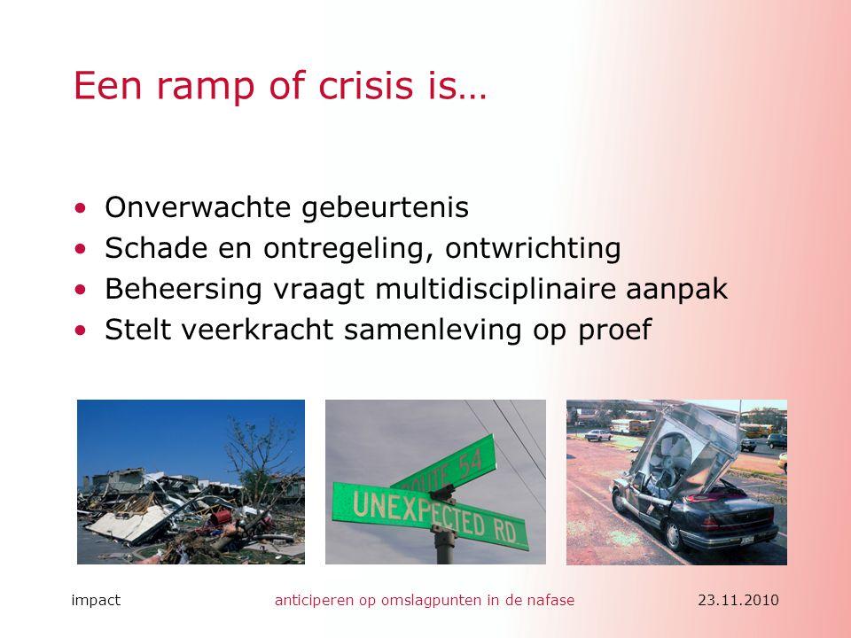 impactanticiperen op omslagpunten in de nafase23.11.2010 Een ramp of crisis is… •Onverwachte gebeurtenis •Schade en ontregeling, ontwrichting •Beheers