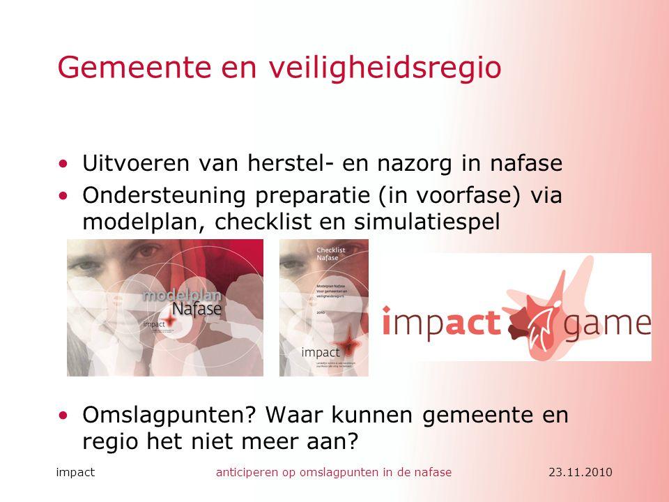 impactanticiperen op omslagpunten in de nafase23.11.2010 Gemeente en veiligheidsregio •Uitvoeren van herstel- en nazorg in nafase •Ondersteuning prepa