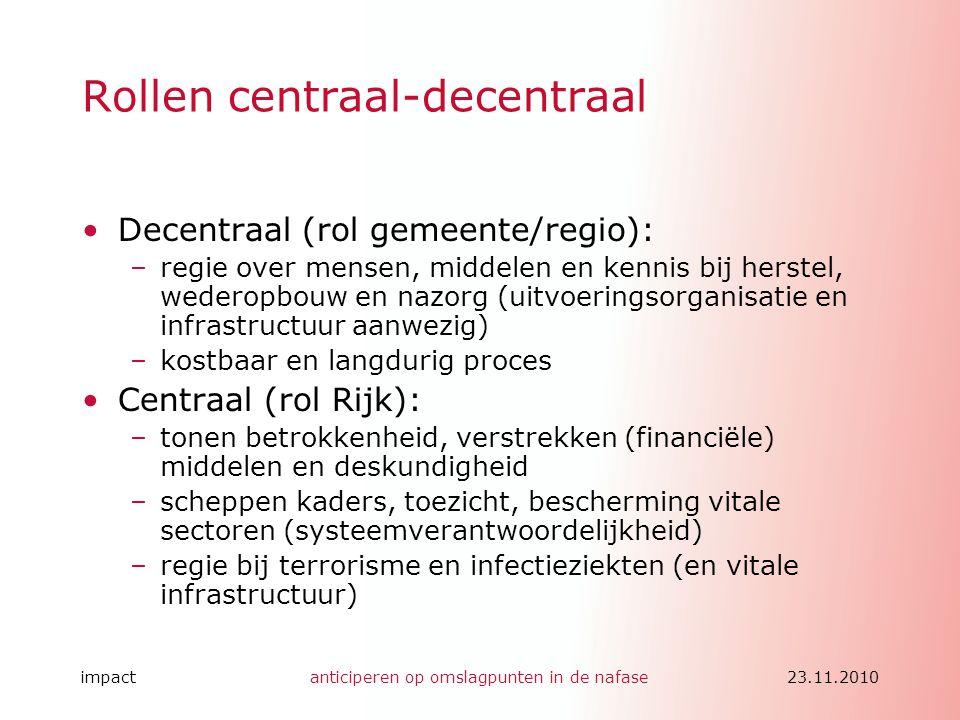 impactanticiperen op omslagpunten in de nafase23.11.2010 Rollen centraal-decentraal •Decentraal (rol gemeente/regio): –regie over mensen, middelen en