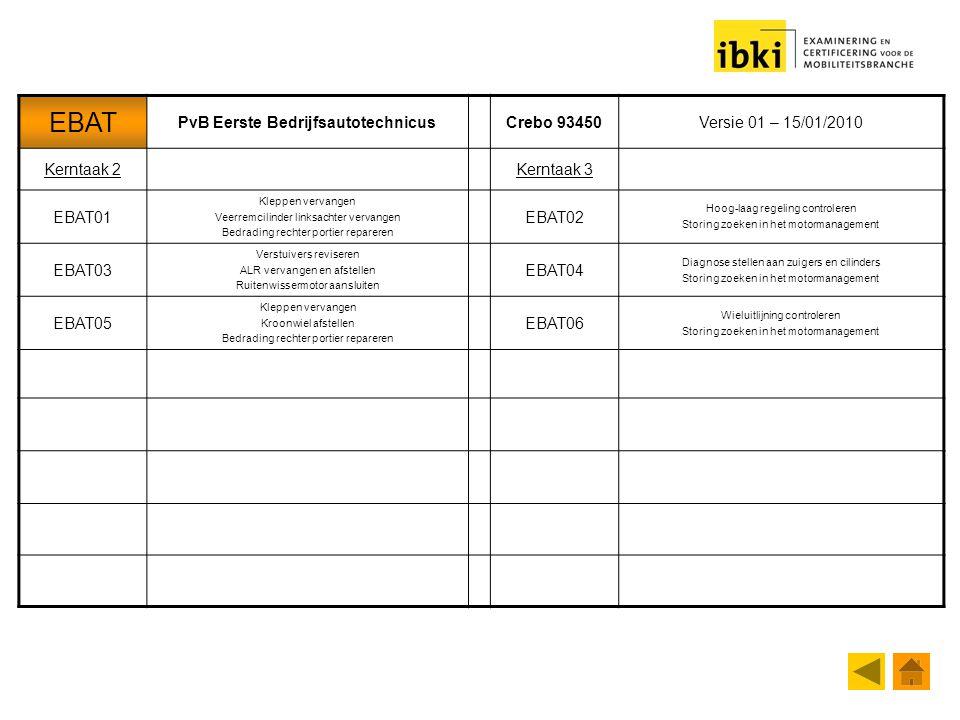 EBAT PvB Eerste BedrijfsautotechnicusCrebo 93450Versie 01 – 15/01/2010 Kerntaak 2Kerntaak 3 EBAT01 Kleppen vervangen Veerremcilinder linksachter verva
