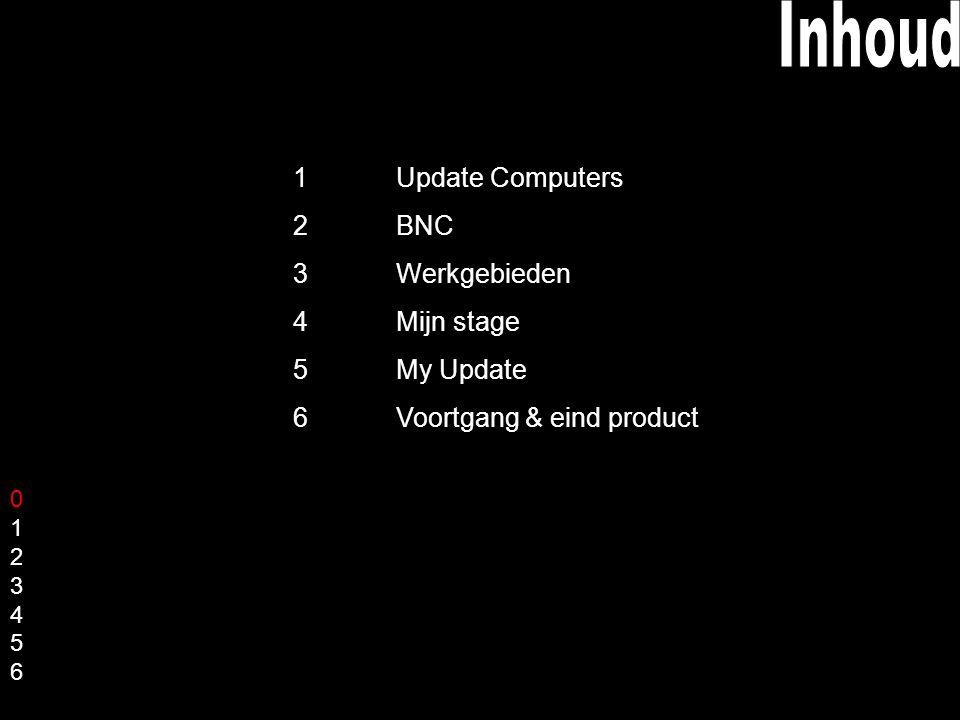 01234560123456 1 Update Computers 2 BNC 3 Werkgebieden 4 Mijn stage 5 My Update 6 Voortgang & eind product