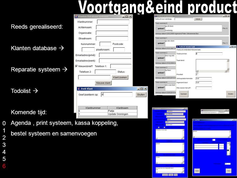 Reeds gerealiseerd: Klanten database  Reparatie systeem  Todolist  Komende tijd: Agenda, print systeem, kassa koppeling, bestel systeem en samenvoegen 01234560123456
