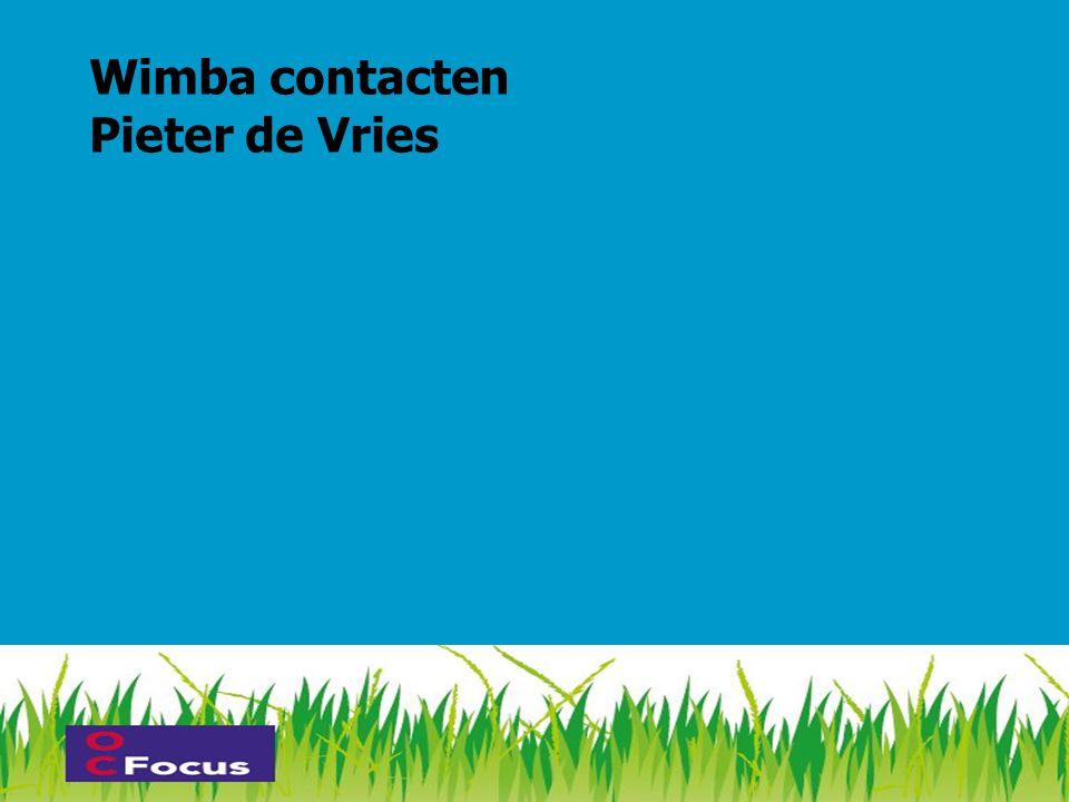 Wimba contacten Pieter de Vries