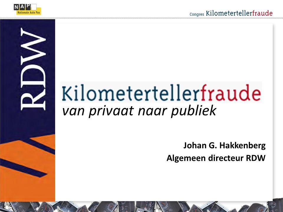 van privaat naar publiek Johan G. Hakkenberg Algemeen directeur RDW